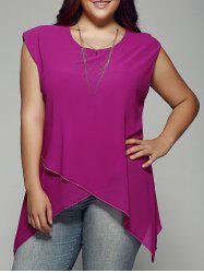 Plus Size Asymmetrical Chiffon Blouse - ROSE RED