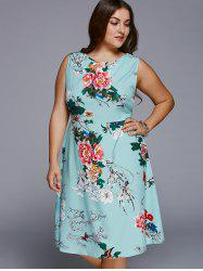 Chic Round Neck Plus Size Floral Dress