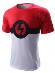 Lightning Sign Design Round Neck Short Sleeve T-Shirt For Men
