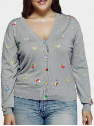 Plus Size Casual Embroidery Single Breasted Cardigan - LIGHT GRAY