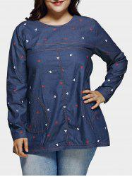 Plus Size Casual Place Motif Denim Blouse -