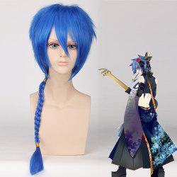 Fluffy Straight Blue Heat Resistant Fiber Vocaloid Katto Cosplay Wig with Braided -