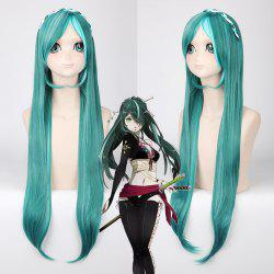 Long With Multicolor Braided Decor Heat Resistant Fiber Vocaloid Miku Knife Style Cosplay Wig