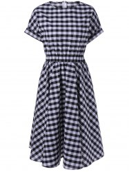 Casual Plaid Print Fit and Flare Dress -