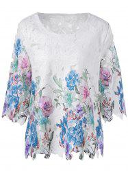 Multicolor Embroidery Crochet 3/4 Sleeve Blouse -