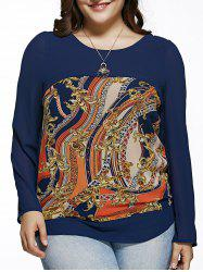 Oversized Chic Long Sleeve Abstract Print Blouse - BLUE 5XL