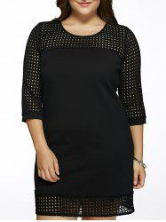 Plus Size Brief Hollow Out Black Dress