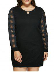 Plus Size Mesh Trim Keyhole Neck Dress -
