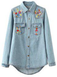 Ethnic Style Pocket Flower Denim Shirt
