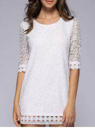 Hollow Out See-Through Pure Color Crochet Dress -