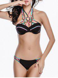 Halter Beaded Strappy Underwire Bikini Set