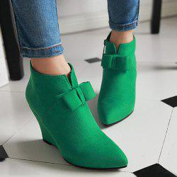 Pointed Toe Bow Wedge Ankle Boots - JADE GREEN