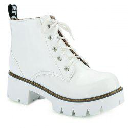 Eyelets Platform Lace Up Ankle Boots - WHITE