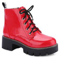 Eyelets Platform Lace Up Ankle Boots - RED
