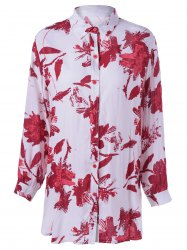 Tropical Print Long Sleeves Boyfriend Shirt -
