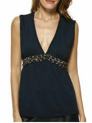 Charming Plunging Neck Chain Embellished Women's Tank Top - CADETBLUE L