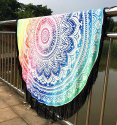 Mandala Lotus Lotus Printed Long Fringe Round Beach Throw