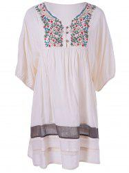 Ethnic Style V-Neck Embroidered Loose Dress -