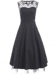 Vintage Lace Insert Polka Dot Cocktail Dress