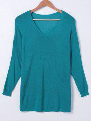 V Neck Solid Color Long Sleeves Sweater -