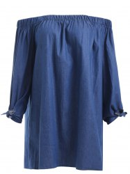 Brief Women's Off-The-Shoulder Tied Denim Blouse -
