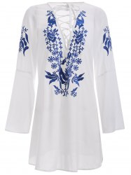 Brief Women's White Floral Print Lace-Up Dress -