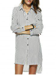 Striped Side Slit Tunic Linen Shirt Dress