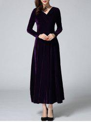 Velvet Empire Waist Long Sleeve Prom Dress