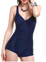 Stylish Ruched Open Back Swimwear For Women