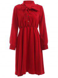 Graceful Women's Bowknot High Waist Red Chiffon Dress