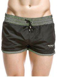 Casual Drawstring Waistband Loose Boxer Shorts - BLACK