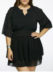 Plus Size Cold Shoulder Layered Dress -