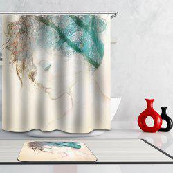 Hot Sale Waterproof Pretty Lady Pattern Printing Shower Curtain -