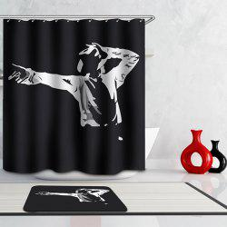 Simple Black Épaissir Waterproof Michael Jackson Motif rideau de douche - Noir