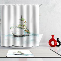 Bonne qualité Cartoon Steamship Waterproof Design Rideau de douche imprimé - Blanc