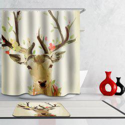 Chic Waterproof Antelope Cartoon Motif d'impression Rideau de douche - Multicolore