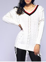 Stripe Lace-Up Crochet Sweater -