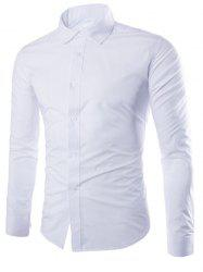Candy Color Turn-down Collar Long Sleeve Shirt For Men