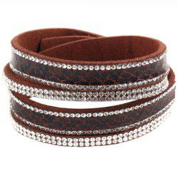 Faux Leather Rhinestone Button Adjustable Bracelet - AMBER