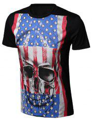 Round Neck Skull Star and Stripe Print Short Sleeve T-Shirt For Men