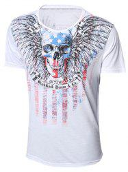 Round Neck Skull and Feather Print Short Sleeve T-Shirt For Men -