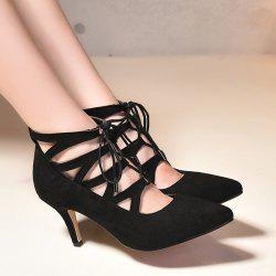 Trendy Suede and Tie Up Design Pumps For Women