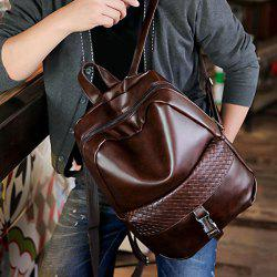 Trendy Solid Colour and Plaid Pattern Design Backpack For Men - DEEP BROWN