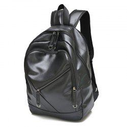 Stylish Solid Colour and Zippers Design Backpack For Men - BLACK