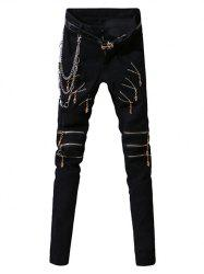 Zip-Up Embellished Design Zipper Fly Narrow Feet Pants For Men - BLACK