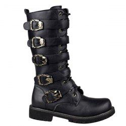 Trendy Black and Buckles Design Boots For Men - BLACK