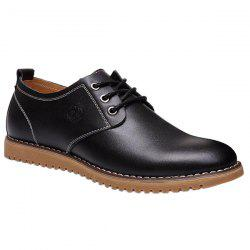 Stylish Tie Up and PU Leather Design Formal Shoes For Men - BLACK 42