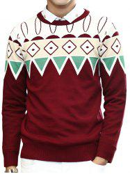 Zigzag Geometric Pattern Round Neck Long Sleeve Sweater For Men - WINE RED