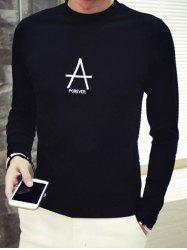 Brief Style Letter Print Round Neck Long Sleeve Tee For Men -