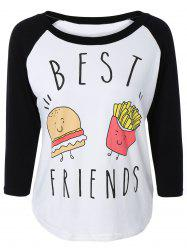 Stylish Scoop Neck Raglan Sleeve Hamburger Print Women's T-Shirt - BLACK 2XL
